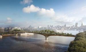 Heatherwick Studio artist's impression of the proposed Garden Bridge across the River Thames