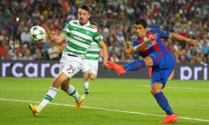 Eoghan O'Connell can only look on as Luis Suarez blasts home Barcelona's sixth.
