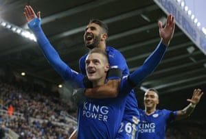 Jamie Vardy celebrates after scoring against Newcastle on 21 November to equal Ruud van Nistelrooy's feat of scoring in 10 successive Premier League games
