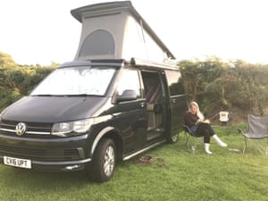 Lisa Derrick with the campervan she hired for Green Man in 2017