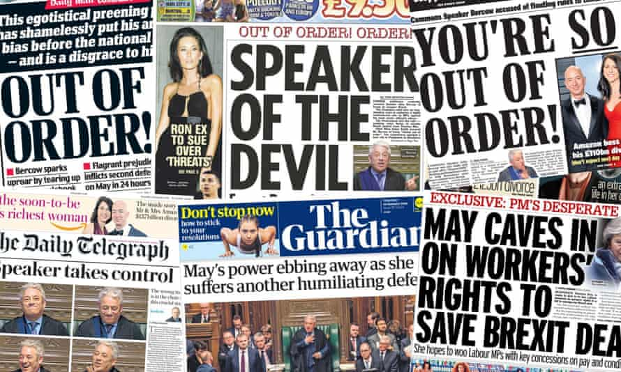 A collection of UK front pages on 10 jan 2018