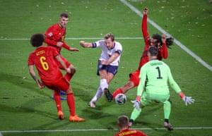 England's forward Harry Kane shoots