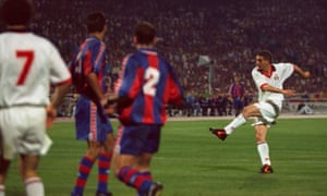 Daniele Massaro blasts in the second goal in Milan's 4-0 thrashing of Barcelona in the 1994 Champions League final.