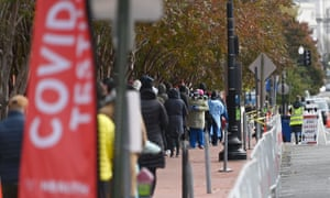 People line up for Covid-19 tests at Judiciary Square in Washington DC, on 18 November. The United States has just marked the grim milestone of 250,000 deaths due to coronavirus.