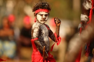The Red Flag dancers from Numbulwar kick off the Bungul at the annual Garma festival in Arnhem Land.