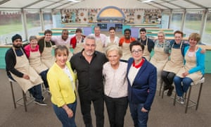 The Great British Bake Off 2016 contestants and Mel Giedroyc, Paul Hollywood, Mary Berry and Sue Perkins.