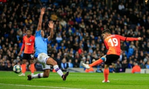 Manor Solomon of Shakhtar Donetsk tucks away their equaliser in the 1-1 draw at Manchester City.