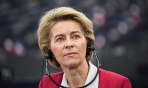 Ursula von der Leyen in the European parliament this morning.