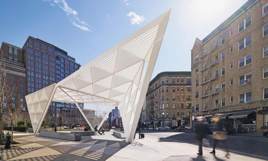 New York City Aids Memorial sits in the heart of Manhattan's West Village and features a canopy with a triangular motif.