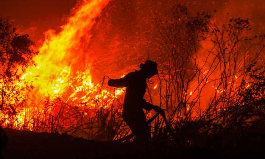 Fire crews fight a blaze in fire in a forest at Rambutan village, South Sumatra province as Kuala Lumpur steps up pressure on Jakarta to tackle blazes responsible for smoke haze across region.