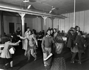 Teenagers, possibly the children of workers, at a dance. Oak Ridge was developed as a segregated community.<br>