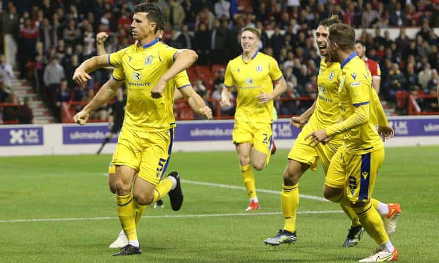 Blackburn Rovers defender Daniel Ayala (5) opened the scoring at Nottingham Forest, his former club.