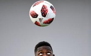 Ousmane Dembele keeps his eye on the ball.