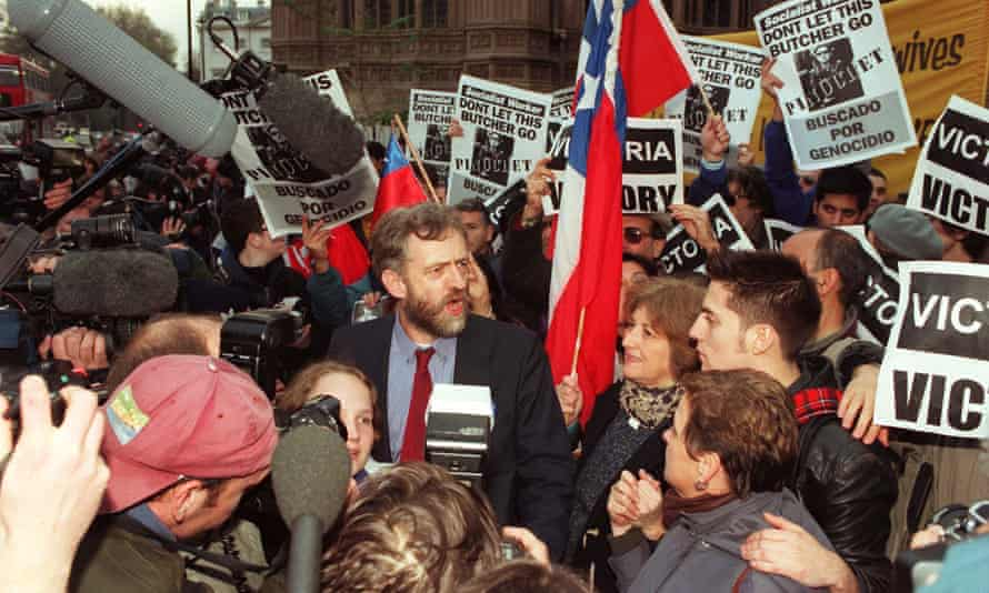 Labour MP Jeremy Corbyn speaking to journalists outside the House of Commons after the historic ruling by the House of Lords against the appeal of former Chilean dictator Augusto Pinochet in 1998