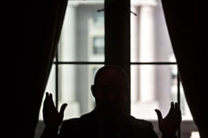 The silhouette of Scott Pruitt, former administrator of the Environmental Protection Agency, is seen as he spoke during an interview in Washington, D.C. Formaldehyde manufacturers had sought a meeting with him early on in the Trump administration.