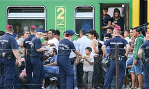 Migrants near Budapest in 2015