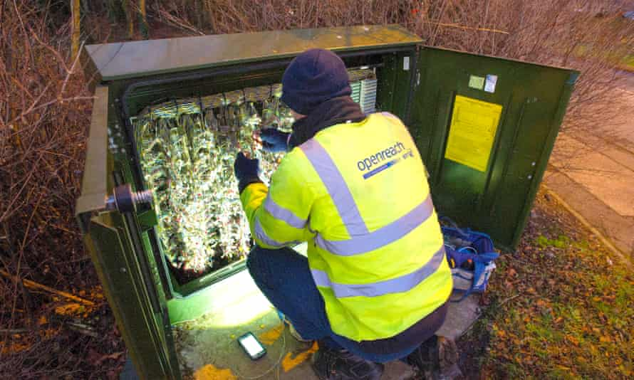 BT Openreach engineer works on upgrading a telephone exchange to superfast broadband near Livingston, West Lothian.