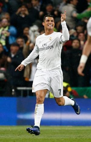 Real Madrid's Cristiano Ronaldo celebrates scoring their first goal.
