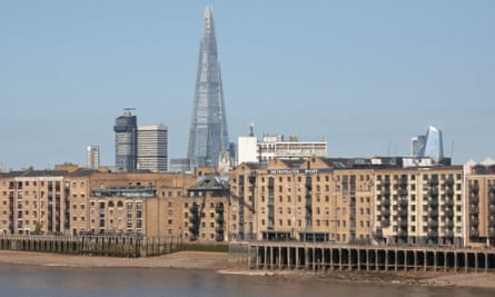 Buildings on the River Thames in London