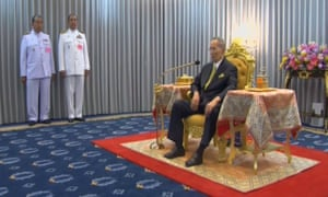 Local television showed footage of the monarch swearing in dozens of judges at a reception room in a Bangkok hospital where he has been convalescing