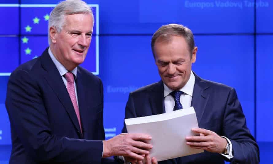 The EU chief Brexit negotiator Michel Barnier (left), and the European council president, Donald Tusk