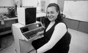 Evelyn Berezin, president of the Redactron Corporation, with the Data Secretary, the first computerised word processor, which she designed and marketed, on Long Island, New York.