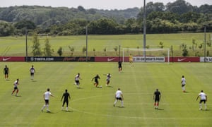 England players take part in a training match at St George's Park before they head to their World Cup base in Repino.