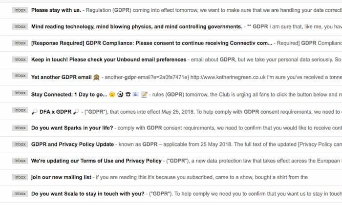 Businesses resort to desperate emailing as GDPR deadline