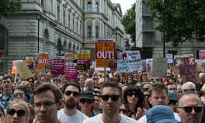 Anti-government demonstrators gather outside Downing Street to protest against Theresa May on Saturday