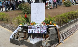 A makeshift memorial in Libreville for victims of violence in the wake of presidential elections in Gabon