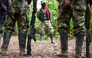 Members of the Ernesto Che Guevara front, part of the ELN guerrillas, train in the Chocó jungle, Colombia