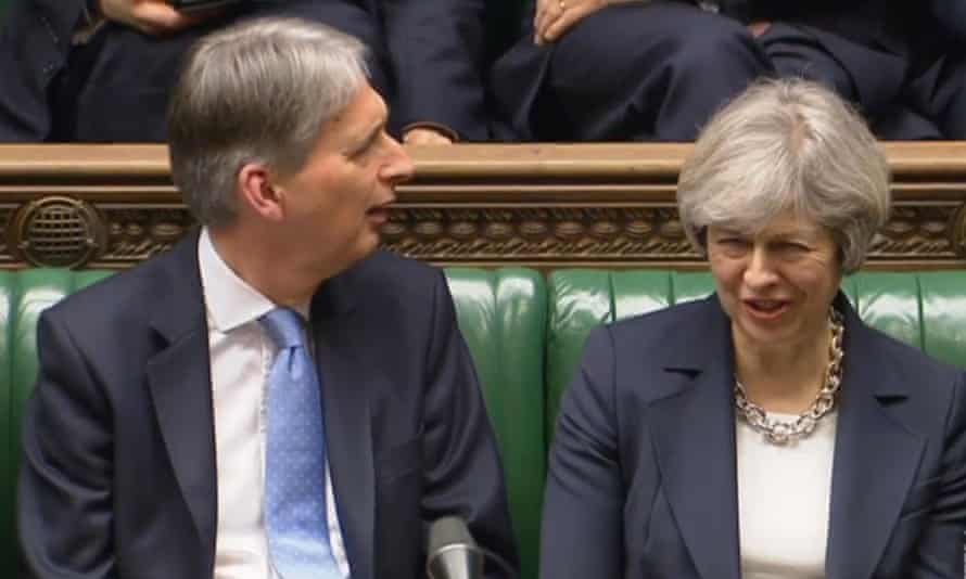 Philip Hammond and Theresa May in the Commons on Wednesday.