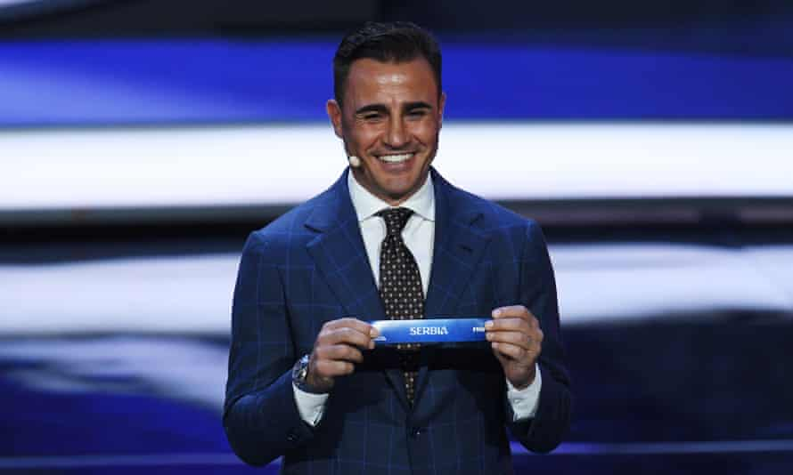 Fabio Cannavaro had to grin and bear it while Gary Lineker joked about Italy's absence.