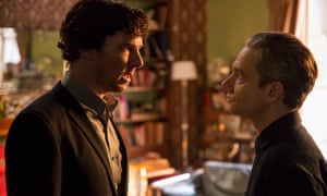 Benedict Cumberbatch as Sherlock Holmes and Freeman as John Watson.