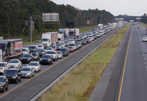 Evacuating traffic streaming out of Florida along Interstate 75.