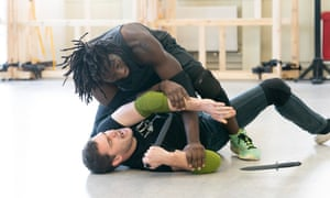 Tom Bateman and Theo Ogundipe in rehearsals for Coriolanus.