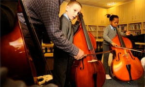 Pupils having music lessons at the Sacred Heart Catholic primary school in Liverpool