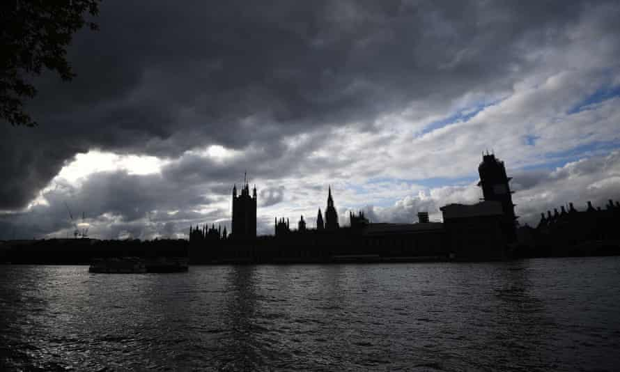 The Palace of Westminster in shadow.