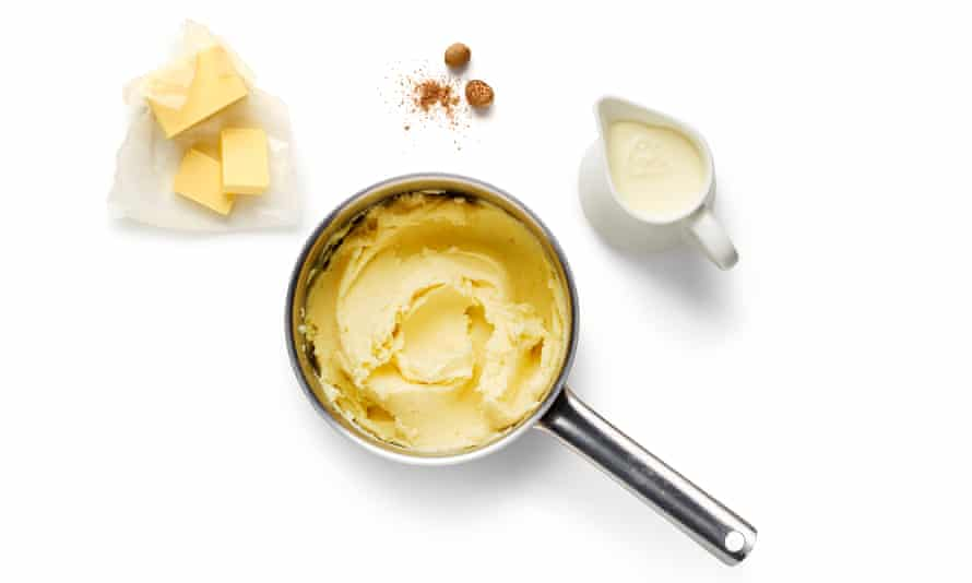 Mash with milk, butter and nutmeg.