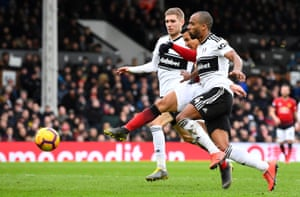 Alexis Sanchez fires in another shot at the Fulham goal.