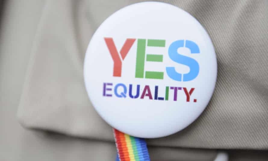 A yes to equality badge at Gay Pride Ireland.