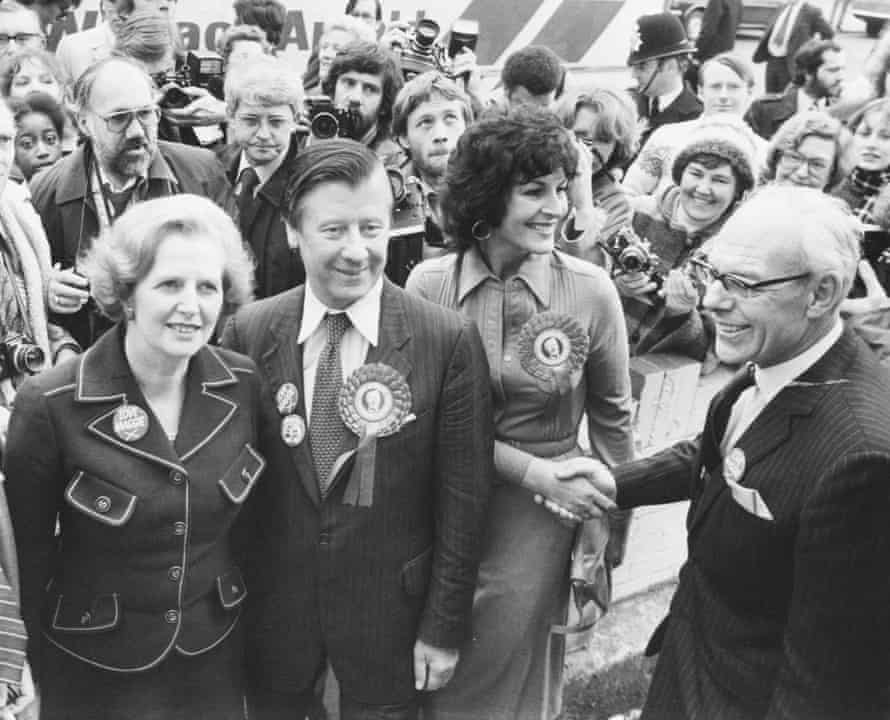 Winning votes: the Morleys out canvassing with Margaret and Denis Thatcher in south London, where Eric stood as a Tory in 1979.
