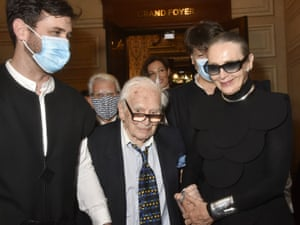 Pierre Cardin and Maryse Gaspar attend House of Cardin at Chatelet Theatre on 21 September 2020
