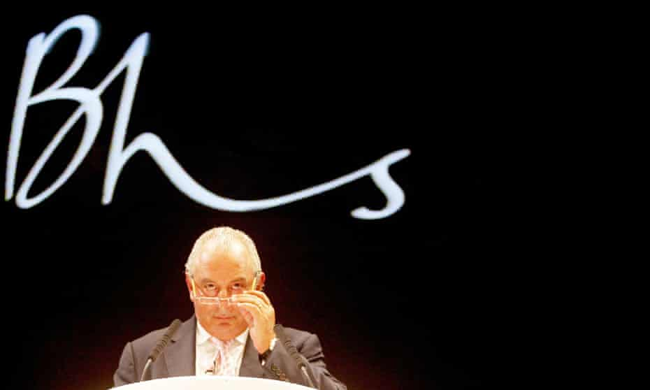Sir Philip Green in front of the BHS logo