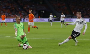 Germany's Timo Werner, right, puts the ball past Netherland's keeper Jasper Cillessen but also the wrong side of the upright.