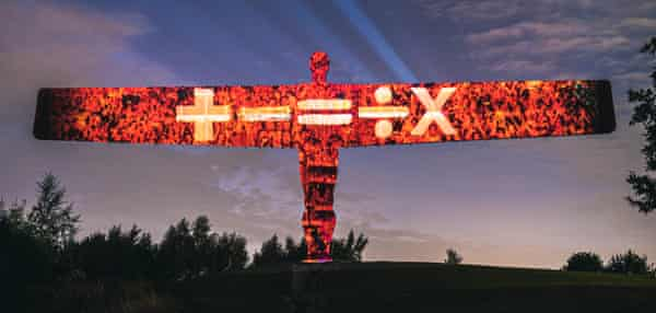 Announcement of Ed Sheeran's tour, projected on the Angel of the North.