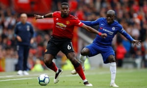 Manchester United's Paul Pogba in action with Chelsea's N'Golo Kanté during a meeting between the teams last season.