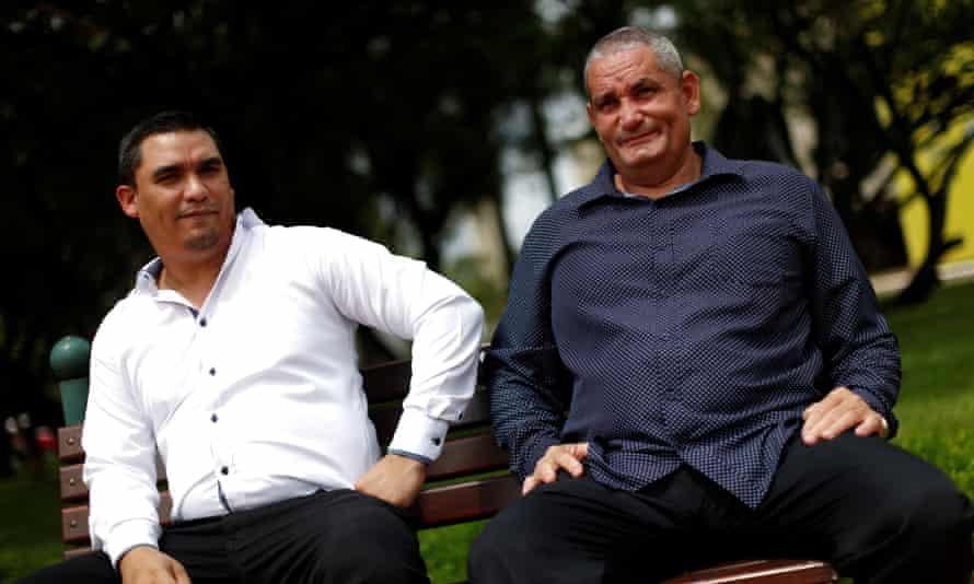 Cuban doctors Carlos Raul Lujos and Alioski Ramirez in Brasilia, Brazil. Leasing medical professionals is Cuba's main export, bringing in more hard currency than tourism.