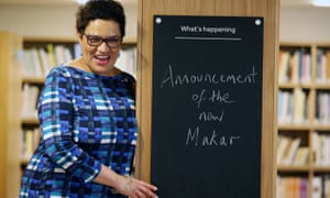Jackie Kay accepting the appointment at the Scottish Poetry Library in Edinburgh.
