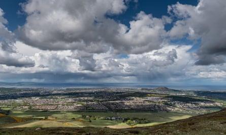 Looking across Edinburgh from Caerketton in the Pentland Hills.
